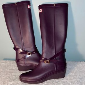 Hunter Andora Wedge Heel Tall Rain Boot Size 8